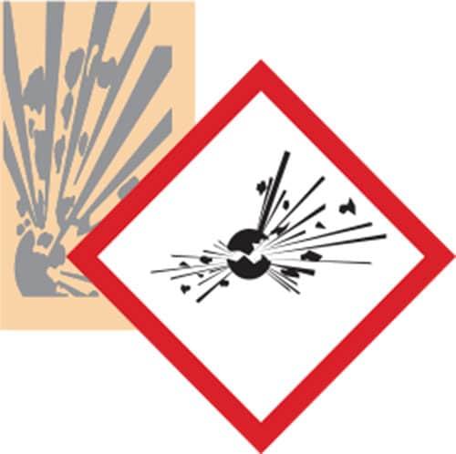 Esempio adesivo GHS pittogramma esplosivo